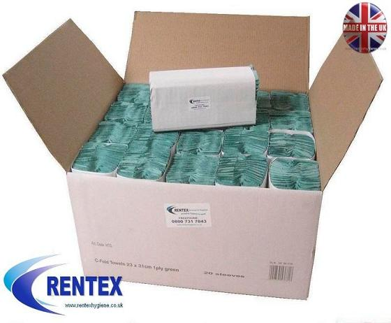 C Fold Paper Hand Towels 1ply Green