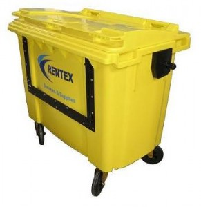 yellow trade waste bin