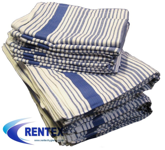 Tea Towels Premium Blue Stripe 1 X 10
