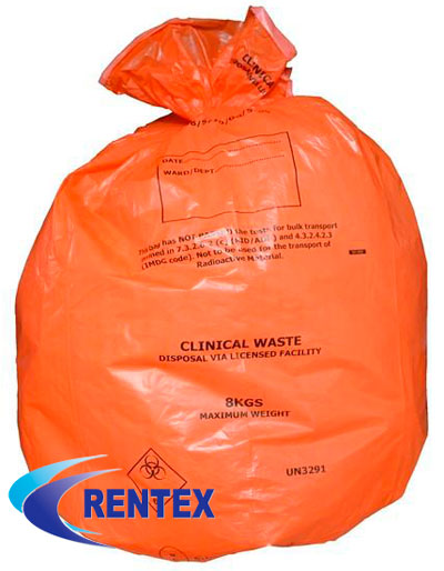 Orange Infection Control Bags UN3291 X 25