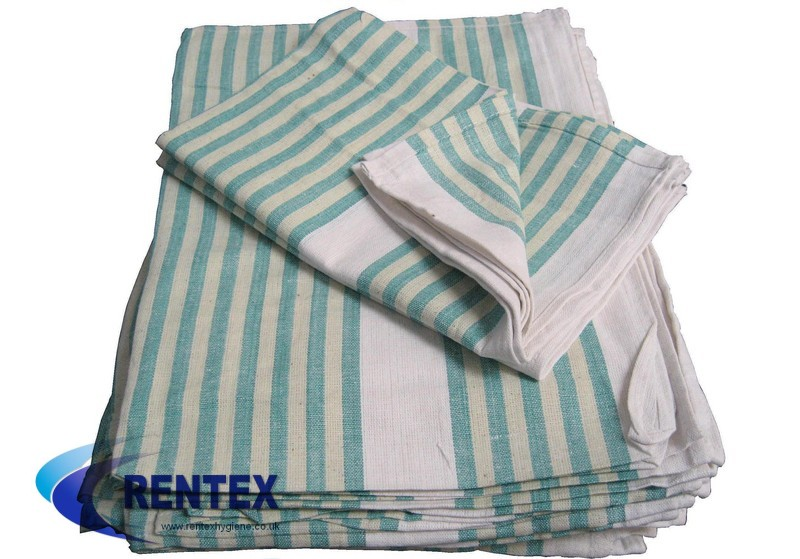 Tea Towels Green Stripe 1 X 10