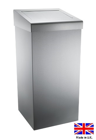 Brushed stainless steel 50Ltr waste bin with did