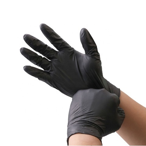 Large Powder Free Nitrile Gloves Black – Qty 100