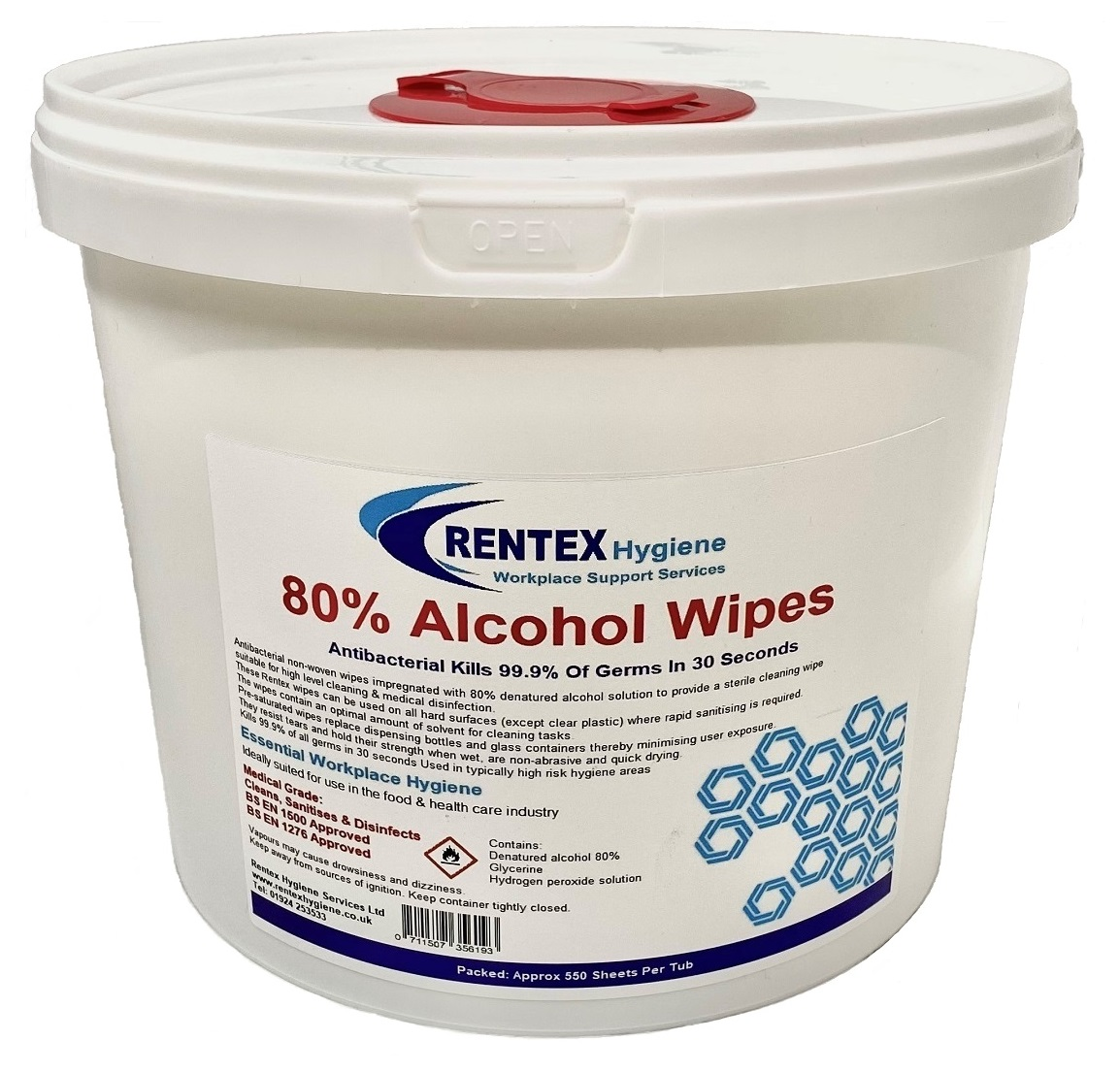 80% Alcohol Sanitiser Wipes 550 Tub