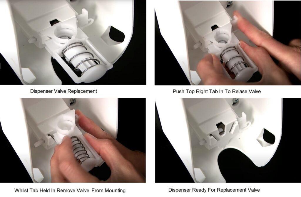 sanitiser dispenser valve instructions